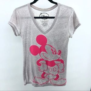 Disney Mickey Mouse Neon Pink Burnout Grey Top